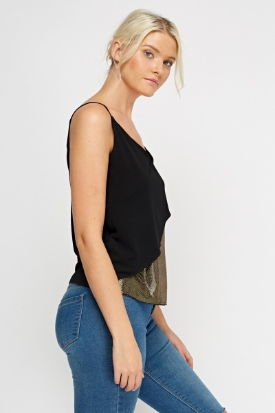 Overlay Metallic Cami Top