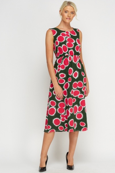 Printed Elasticated Midi Dress