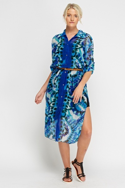 Printed Sheer Button Up Dress