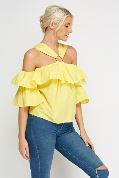 Yellow Detailed Cold Shoulder Top