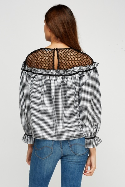Crochet Contrast Checked Top
