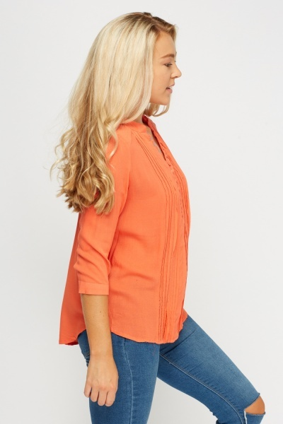 Dip Hem Pleated Blouse