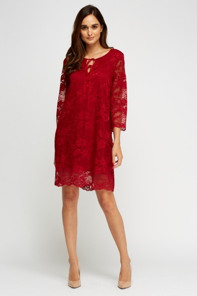 Lace Overlay Tie Up Neck Dress