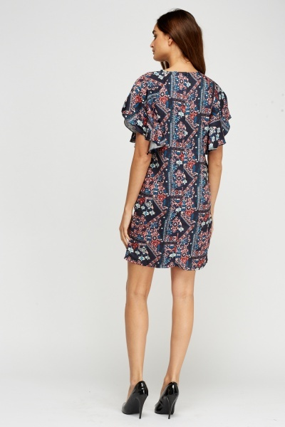 Mixed Print Flare Sleeve Shift Dress