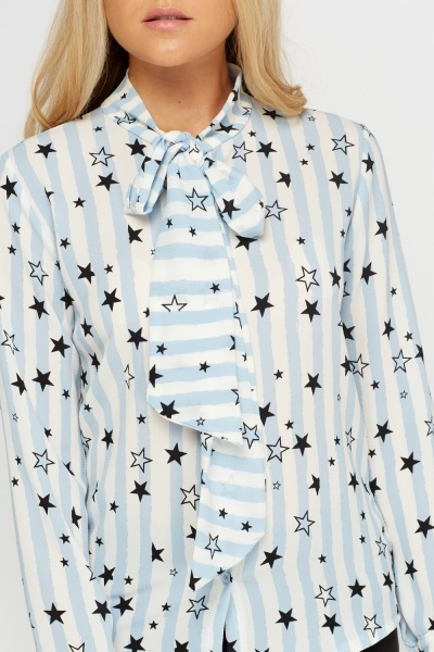 Star Printed Tie Up Neck Blouse