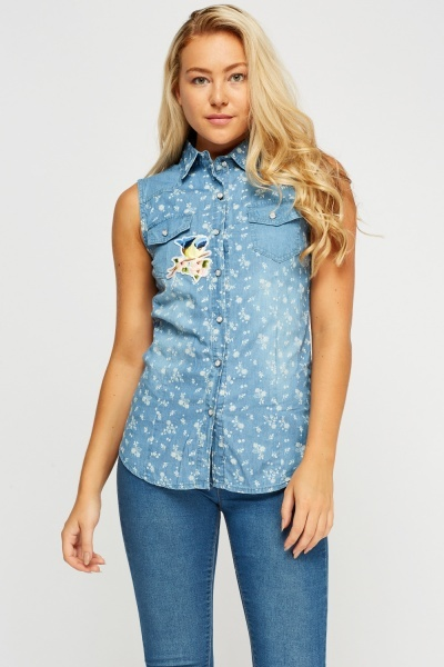 Applique Printed Sleeveless Shirt
