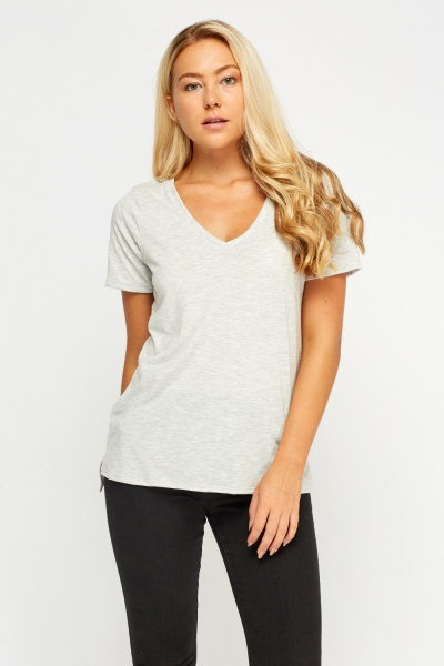 Casual Dip Hem V-Neck Top
