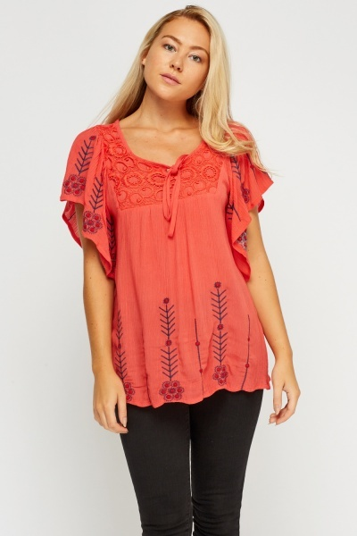 Embroidered Crochet Overlay Flare Sleeve Top