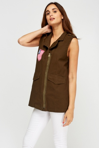 Embroidered Patched Sleeveless Jacket
