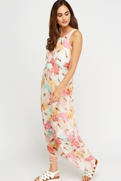 Feather Printed Overlay Maxi Dress