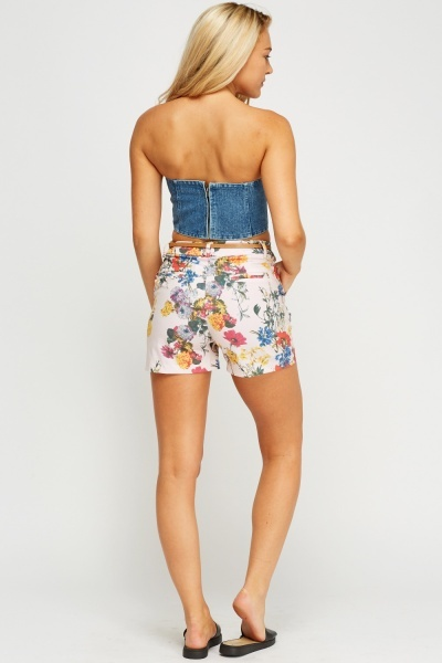 Floral Printed Belted Shorts