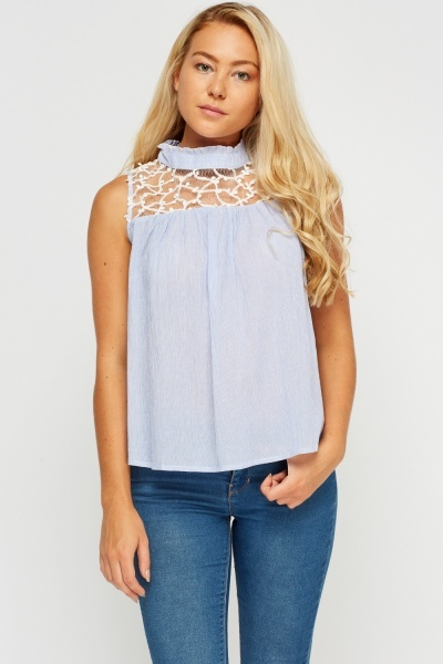Mesh Insert High Neck Top