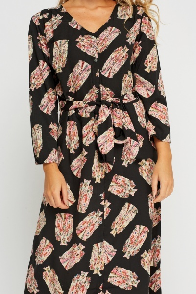 Owl Printed Button Up Shirt Dress