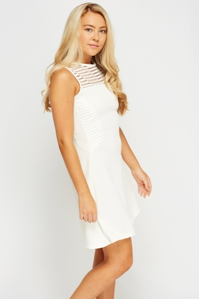 Ribbed Mesh Insert Ivory Dress