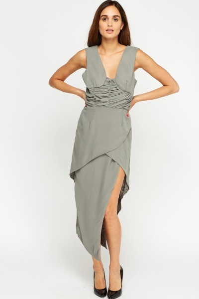 Ruched Silver Wrap Dress