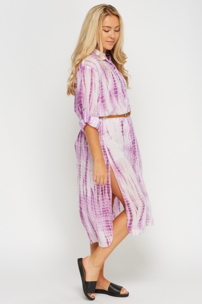 Tie Dye Mauve Shirt Dress