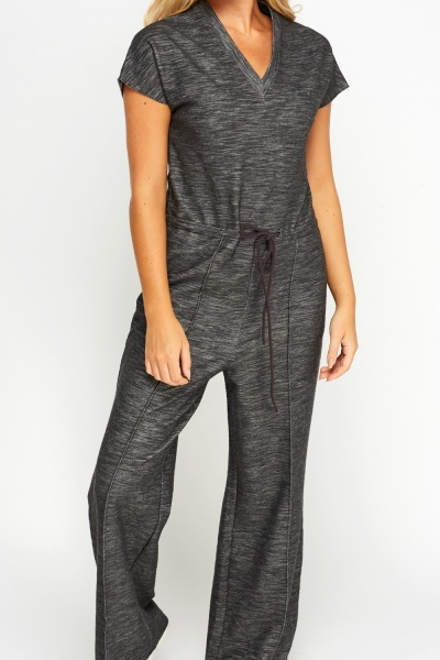 Wide Leg Charcoal Casual Jumpsuit
