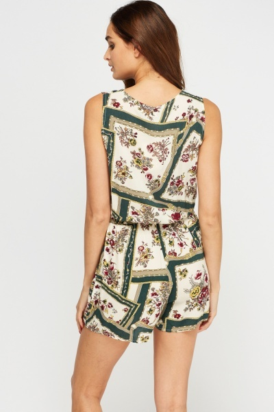 Wrap Front Printed Playsuit