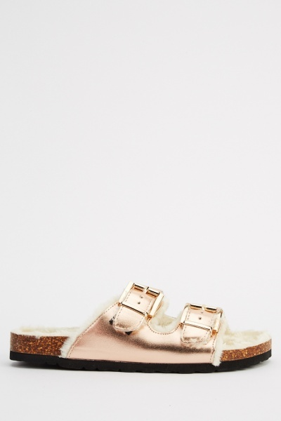 Ideal Metallic Slip On Sandals