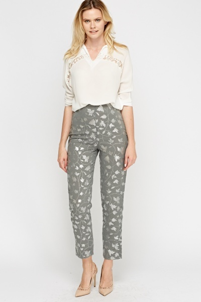 Metallic Printed Grey Trousers