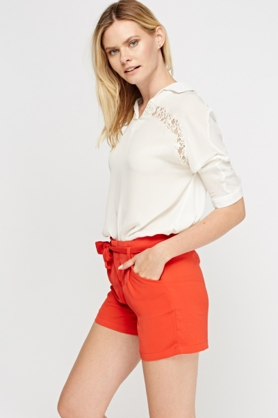 Red Tie Up Shorts