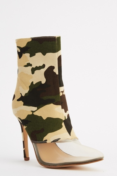 Camouflage Mesh Court Heeled Boots