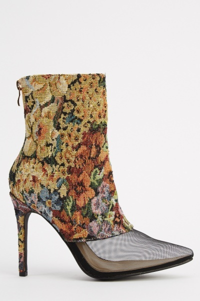 Sergio Todzi Floral Mesh Heeled Boots