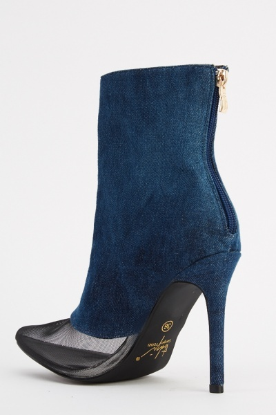 Denim And Mesh Contrast Ankle Boots