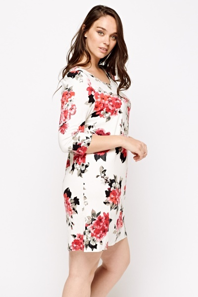 Simple And Chic Floral Printed Slip On Dress