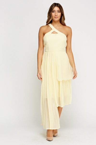 Asymmetric Pleated Light Yellow Dress