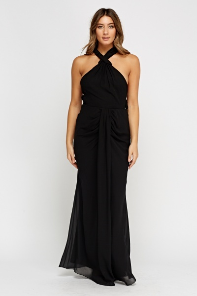 Detailed Back Ruched Maxi Dress