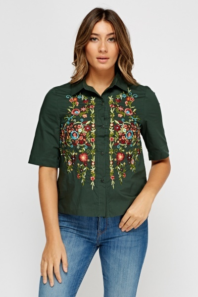 Embroidered Flower Cotton Shirt