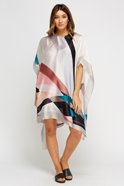 Geo Printed Silky Cover Up