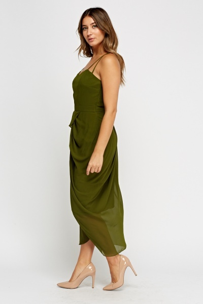 Green Sheer Wrap Maxi Dress
