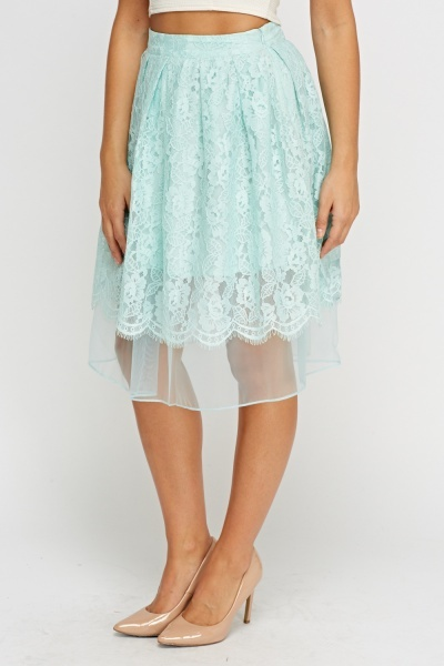 Lace Overlay Mint Skirt
