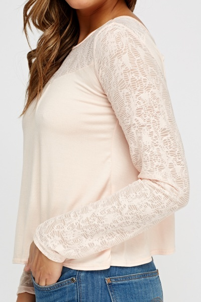 Mesh Sleeve Wrapped Back Casual Top