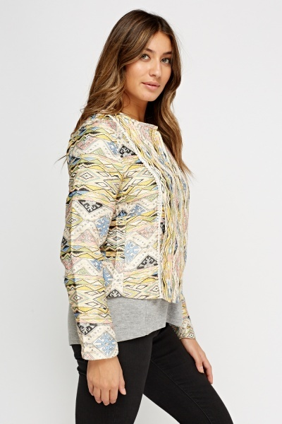 Metallic Insert Aztec Printed Jacket