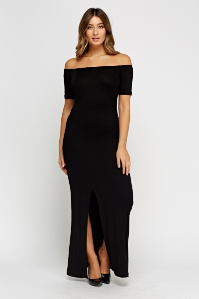 Off Shoulder Black Maxi Dress