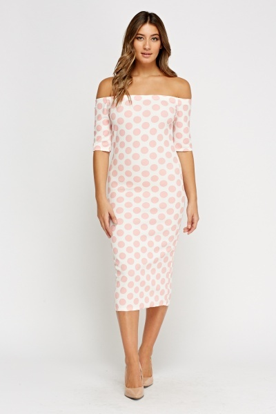 Polka Dot Textured Off Shoulder Dress