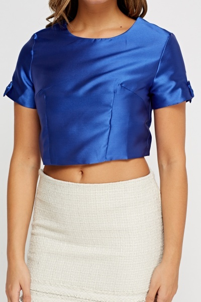 Sateen Zipped Back Crop Top