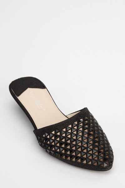 Contrast Laser Cut Court Shoes