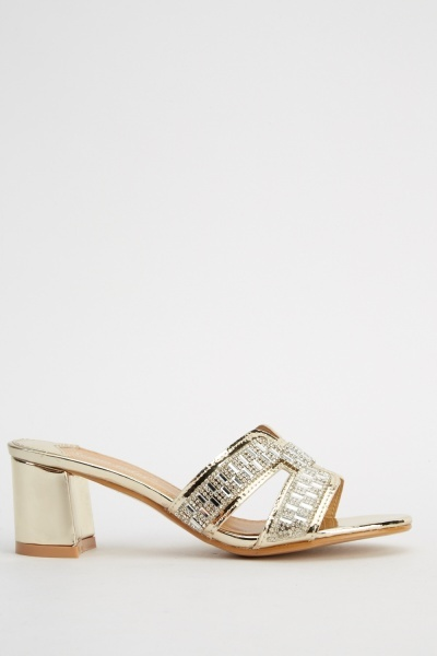 Embellished Cut Out Front Mid Heel Shoes