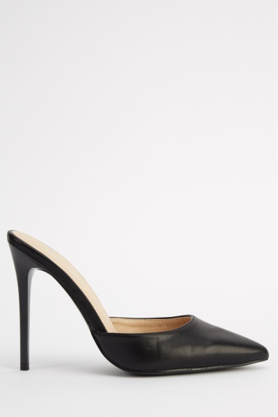 Slip On Black Court Heels
