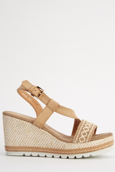 Woven Contrast Wedge Sandals