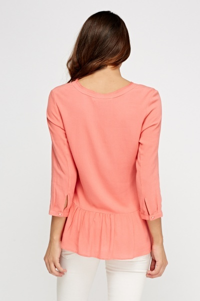 Flare Hem Coral Casual Top
