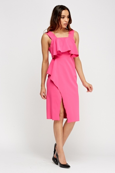 Hot Pink Peplum Midi Dress