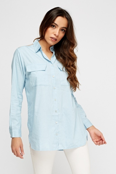Mesh Insert Back Casual Shirt