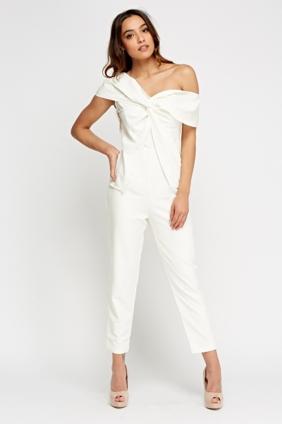 One Shoulder Cross White Jumpsuit