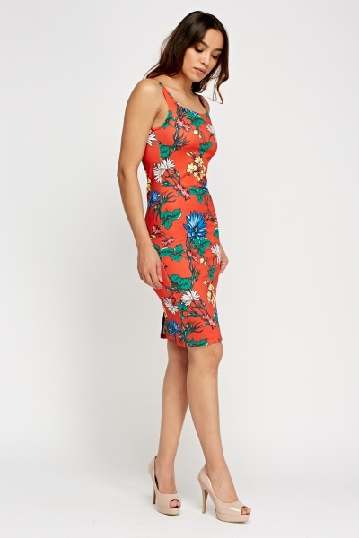 Orange Red Floral Bodycon Dress