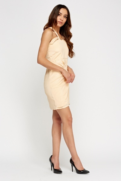 Peach Ruched Front Slit Dress